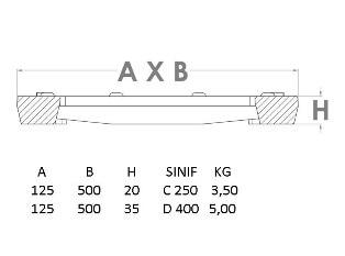 döküm kanal ızgarası 125 mm teknik çizim