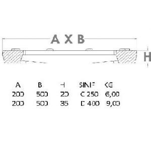 sfero döküm kanal ızgarası teknik çizim