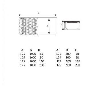 polimer hazır kanal teknik çizim 125 mm