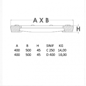 kanal ızgarası teknik çizim 450 mm