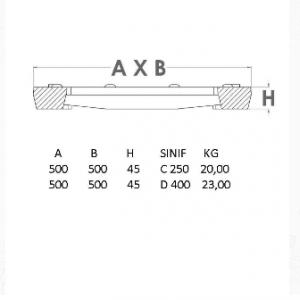 kanal ızgarası 500 mm teknik çizim